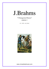 Cover icon of Hungarian Dances (COMPLETE) sheet music for violin and piano by Johannes Brahms, classical score, intermediate skill level