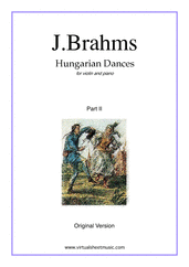 Cover icon of Hungarian Dances (original version, part II) sheet music for violin and piano by Johannes Brahms, classical score, intermediate/advanced