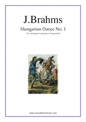 Cover icon of Hungarian Dance No. 1 sheet music for wind quartet and piano (or harpsichord) by Johannes Brahms, classical score, intermediate/advanced skill level