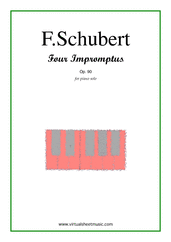 Cover icon of Four Impromptus Op.90 sheet music for piano solo by Franz Schubert, classical score, advanced skill level