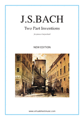 Cover icon of Two Part Inventions (New Edition) sheet music for piano solo (or harpsichord) by Johann Sebastian Bach, classical score, intermediate piano (or harpsichord)