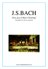 Cover icon of Jesu, Joy of Man's Desiring sheet music for alto saxophone and piano by Johann Sebastian Bach, classical Christmas carol score, intermediate alto