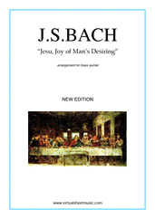 Cover icon of Jesu, Joy of Man's Desiring (New Edition) sheet music for brass quintet by Johann Sebastian Bach, classical wedding score, intermediate