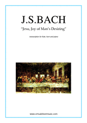 Cover icon of Jesu, Joy of Man's Desiring sheet music for flute, horn and piano by Johann Sebastian Bach, classical wedding score, intermediate