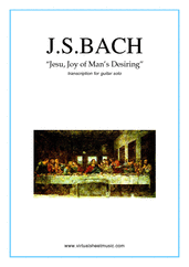 Jesu, Joy of Man's Desiring for guitar solo - johann sebastian bach guitar sheet music