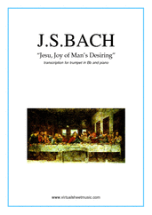 Cover icon of Jesu, Joy of Man's Desiring sheet music for trumpet and piano by Johann Sebastian Bach, classical wedding score, intermediate