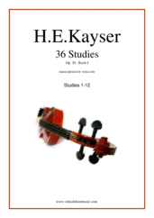 Cover icon of Etudes (1-12), Op.20 - Book I sheet music for viola solo by Heinrich Ernst Kayser, classical score, intermediate skill level