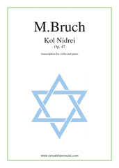 Cover icon of Kol Nidrei Op.47 sheet music for violin and piano by Max Bruch, classical score, advanced