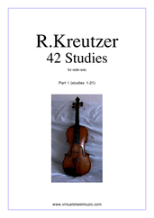 Cover icon of Studies (1-21) - part I sheet music for violin solo by Rudolf Kreutzer, classical score, intermediate violin