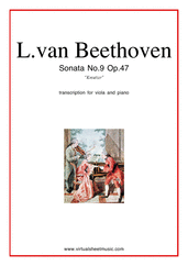 "Cover icon of Sonata Op.47 No.9 ""Kreutzer"" sheet music for viola and piano by Ludwig van Beethoven, classical score, advanced"