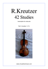 Cover icon of Studies (1-21) - part I sheet music for viola solo by Rudolf Kreutzer, classical score, intermediate/advanced skill level