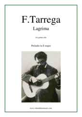 Cover icon of Lagrima, Preludio sheet music for guitar solo by Francisco Tarrega, classical score, easy/intermediate skill level