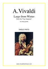Cover icon of Largo from Winter (parts) sheet music for string quintet or string orchestra by Antonio Vivaldi, classical score, intermediate