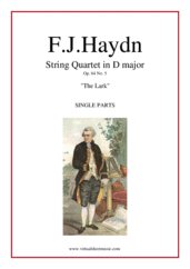 "Cover icon of String Quartet in D major Op.64 No.5 ""The Lark"" (parts) sheet music for string quartet by Franz Joseph Haydn, classical score, intermediate/advanced"