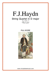 "Cover icon of String Quartet in D major Op.64 No.5 ""The Lark"" (f.score) sheet music for string quartet by Franz Joseph Haydn, classical score, intermediate/advanced skill level"