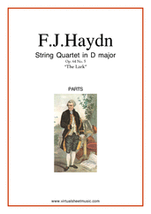 "Cover icon of String Quartet in D major Op.64 No.5 ""The Lark"" (COMPLETE) sheet music for string quartet by Franz Joseph Haydn, classical score, intermediate/advanced string quartet"