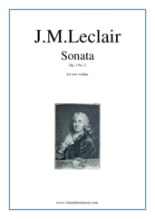 Cover icon of Sonata Op.3 No.2 (duo) sheet music for two violins by Jean Marie Leclair, classical score, intermediate duet