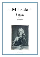 Cover icon of Sonata Op.3 No.6 (duo) sheet music for two violins by Jean Marie Leclair, classical score, intermediate duet