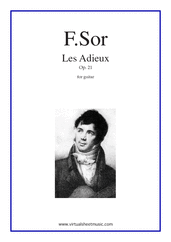 Cover icon of Les Adieux Op.21 sheet music for guitar solo by Fernando Sor, classical score, intermediate/advanced