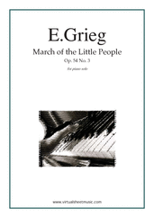 "Cover icon of March of the Little People - ""March of the Dwarfs"" sheet music for piano solo by Edward Grieg, classical score, intermediate skill level"