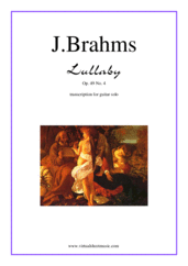 Cover icon of Lullaby Op. 49 No. 4 sheet music for guitar solo by Johannes Brahms, classical score, intermediate