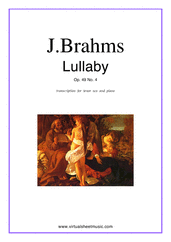 Cover icon of Lullaby Op. 49 No. 4 sheet music for tenor saxophone and piano by Johannes Brahms, classical score, easy