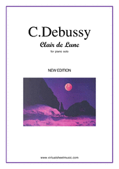 Cover icon of Clair de Lune (New Edition) sheet music for piano solo by Claude Debussy, classical score, intermediate piano