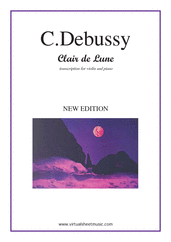Cover icon of Clair de Lune sheet music for violin and piano by Claude Debussy, classical score, intermediate/advanced