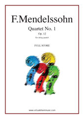 Cover icon of Quartet No. 1 Op. 12 (f.score) sheet music for string quartet by Felix Mendelssohn-Bartholdy, classical score, advanced skill level