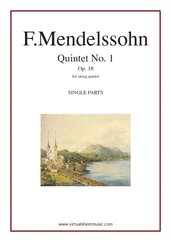 Cover icon of Quintet No. 1 Op. 18 in A major (parts) sheet music for string quintet by Felix Mendelssohn-Bartholdy, classical score, intermediate skill level