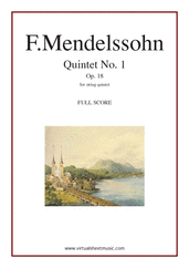 Cover icon of Quintet No. 1 Op. 18 in A major (f.score) sheet music for string quintet by Felix Mendelssohn-Bartholdy, classical score, intermediate skill level