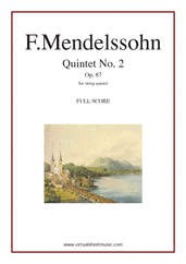 Cover icon of Quintet No. 2 Op. 87 in Bb major (f.score) sheet music for string quintet by Felix Mendelssohn-Bartholdy, classical score, intermediate/advanced