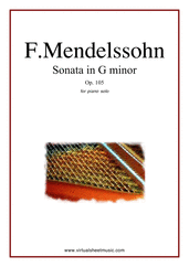Cover icon of Sonata in G minor Op.105 sheet music for piano solo by Felix Mendelssohn-Bartholdy, classical score, intermediate skill level