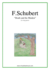 Cover icon of Death and the Maiden (parts) sheet music for string quartet by Franz Schubert, classical score, advanced string quartet