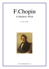 Cover icon of A Maiden's Wish sheet music for voice and piano by Frederic Chopin, classical score, easy/intermediate