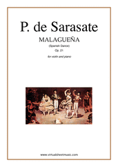 Cover icon of Malaguena spanish dance Op.21 sheet music for violin and piano by Pablo De Sarasate, classical score, advanced violin