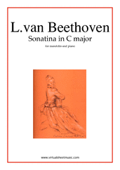 Cover icon of Sonatina in C major sheet music for mandolin and piano by Ludwig van Beethoven, classical score, intermediate skill level