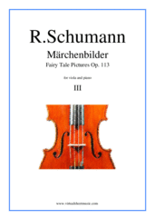 Cover icon of Marchenbilder (Fairy Tale Pictures), Piece No. 3 sheet music for viola and piano by Robert Schumann, classical score, intermediate