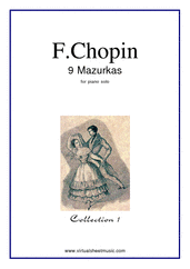 Cover icon of Mazurkas Op.6 and Op.7 (collection 1) sheet music for piano solo by Frederic Chopin, classical score, easy