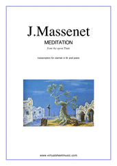 Cover icon of Meditation from Thais sheet music for clarinet and piano by Jules Massenet, classical wedding score, intermediate/advanced skill level