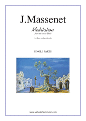 Cover icon of Meditation from Thais (parts) sheet music for flute, violin and cello by Jules Massenet, classical wedding score, intermediate/advanced