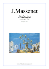 Cover icon of Meditation from Thais sheet music for piano solo by Jules Massenet, classical wedding score, intermediate