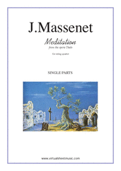 Cover icon of Meditation from Thais (parts) sheet music for string quartet by Jules Massenet, classical wedding score, intermediate/advanced skill level