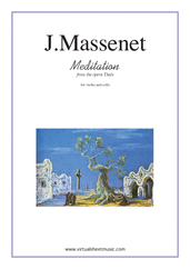 Cover icon of Meditation from Thais sheet music for violin and cello by Jules Massenet, classical wedding score, intermediate/advanced duet