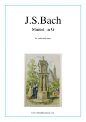 Cover icon of Minuet  in G sheet music for violin and piano by Johann Sebastian Bach, classical score, easy
