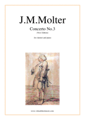 Cover icon of Concerto No.3 (New Edition) sheet music for clarinet and piano by Johann Melchior Molter, classical score, intermediate skill level