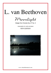 "Cover icon of Adagio from Sonata Op. 27 No.2 ""Moonlight"" sheet music for violin and piano by Ludwig van Beethoven, classical score, intermediate skill level"