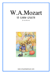 Cover icon of Easy Duets sheet music for two alto saxophones by Wolfgang Amadeus Mozart, classical score, easy duet
