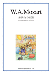 Cover icon of Easy Duets sheet music for trumpet and alto saxophone by Wolfgang Amadeus Mozart, classical score, easy/intermediate duet