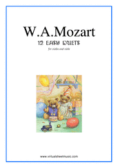Cover icon of Easy Duets sheet music for violin and viola by Wolfgang Amadeus Mozart, classical score, easy duet